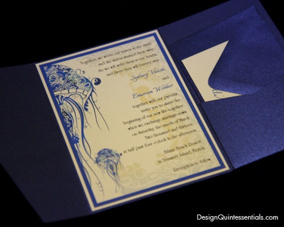 Pocketfold Wedding Invitation w. Sea Creatures Design Theme