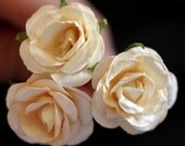 Ivory Rose, Bridal Hair Accessories, Bohemian Wedding Hair Accessory, Cream Hair Flower, Ivory Hair Flower, Brass Bobby Pins - Set of 3