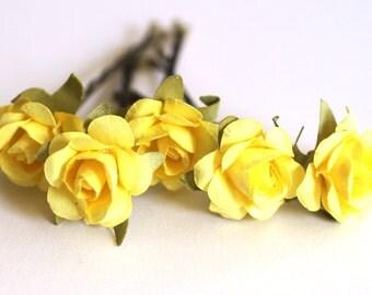 Sunshine Rose, Bridal Hair Accessories, Bohemian Wedding Hair Flower, Yellow Hair Flower, Brass Bobby Pins - Set of 5