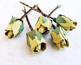 Olive Green Hair Flower, Bridal Hair Accessories, Bohemian Wedding Hair Flower, Green Flower Bobby Pins - Set of 5