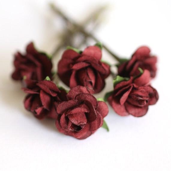 Items Similar To Burgundy Rose Bridal Hair Accessories Wedding Hair Flower Bridesmaid Hair