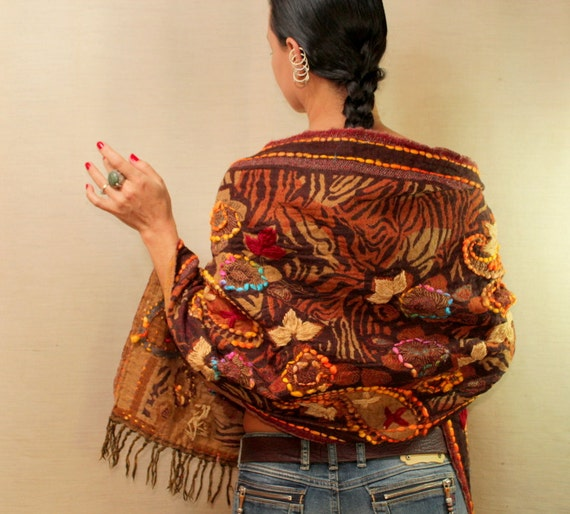 Remaining From Fall / Shawl Wrap Scarf Stole Wool Woven Shawl Brown Yellow Red Hand Embroidery Flowers Women Accessories