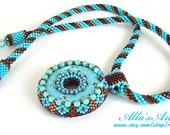 Seed bead necklace with howlite dyed turquoise donut