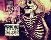 Mexican Skeleton Statue Photo. Fine Art print, 5x7 Home Decor. red, pink yellow