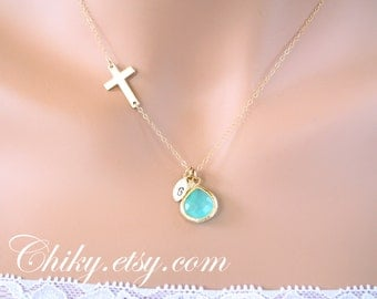 14k GOLD FILLED  CROSS Necklace, with initial leaf and aqua  stone in bezel, Birthday, Christmas gift,for mom daughter sister, best friend