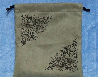Gift bag, suede cloth with drawstring top, laser engraved with daisies