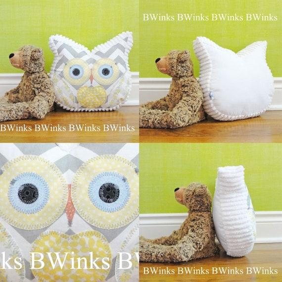 Owl Pillow Chevron Owl Decor Pillow - Bedroom Throw Pillow - White Chenille with Gray / Yellow Cotton Chevron - LIMITED  last one