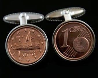 Greek Coin Cufflinks - Handmade greek Cufflinks featuring the Greece 1 Cent Euro - 100% satisfaction