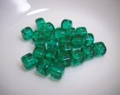 Bead Lot Glass Emerald Green Square Beads Jewelry Supplies - wallstantiques