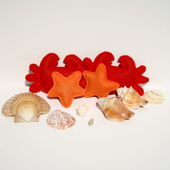 Under the Sea Catnip Toys felt crab and starfish cat toys