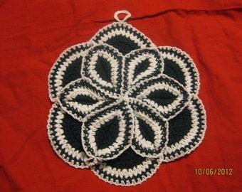 Hand crocheted Potholder hotpad Fern Green  White 10 inches