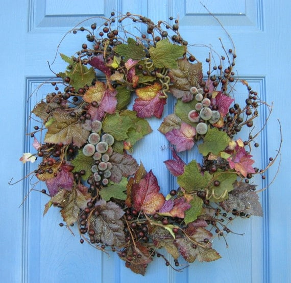 Tuscan Grapevine Floral Front Door Wreath or Centerpiece Wall Decoration Summer Flowers New