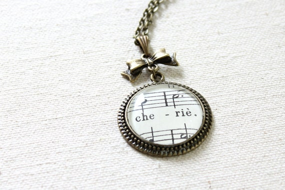 French sheet music necklace romantic jewelry for her.  Cherie sheet music under glass on vintage style necklace