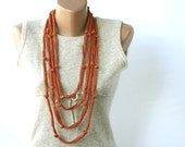 Summer Scarf Rust Skinny Cotton necklace Infinity with knots Summer fashion vegan