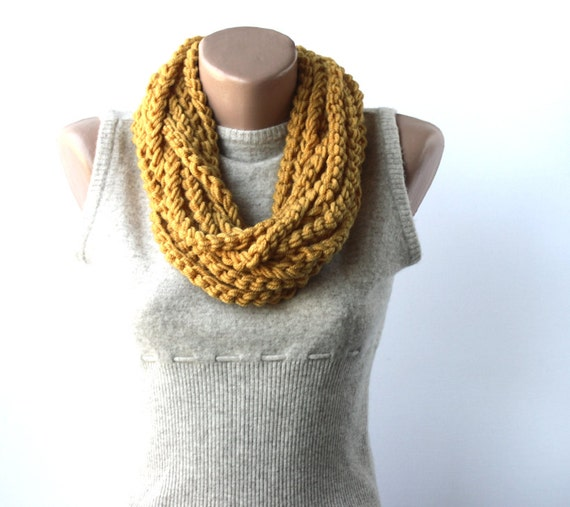 Crochet infinity scarf - loop chain necklace - golden mustard yellow - Fall fashion back to school