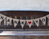 THANKYOU Hessian Burlap Wedding Celebration Party Banner Bunting Decoration Thank you photo prop