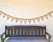 HAPPY BIRTHDAY Hessian Burlap Celebration Party Banner Bunting Decoration