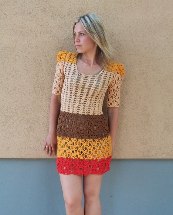 RESERVED for Rachel - OOAK Cinnamon Dress - size S/M - Womens Girls crochet summer dress nude brown yellow red - Sample Sale - ready to ship