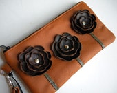 LAST ONE Orange Rust Spice Leather Wristlet Clutch Small Purse Iphone Galaxy Cell Phone Brown Poppy Flowers with Key Fob