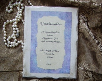 Granddaughter Original Poem on Wood, Shabby Cottage, Granddaughter gift, purple, antiqued white