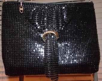Vintage Evening Clutch Bag Metal Mesh With Front Buckle Drape Detail Shoulder Strap