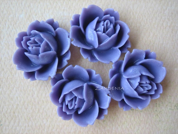 4PCS - Rose Flower Cabochons - Resin - 18mm - Lavender - Cabochons by ZARDENIA