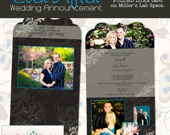 Wedding - Ever After Folded Luxe Announcement- custom photo templates for photographer's on Millers Lab Specs