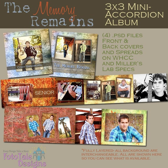 The Memory Remains 3x3 Mini-Accordion Album- custom photo templates for photographers on WHCC, Miller's Lab and ProDigitalPhotos Specs