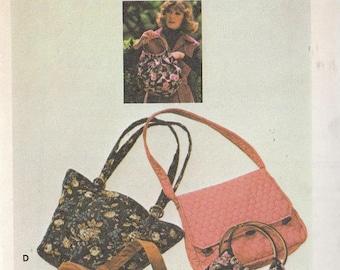 Vintage Sewing Pattern Four Handbags 1970s purses Shoulder Bags