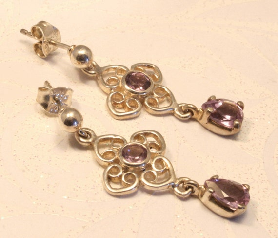 Amethyst and silver drop earrings. Celtic style