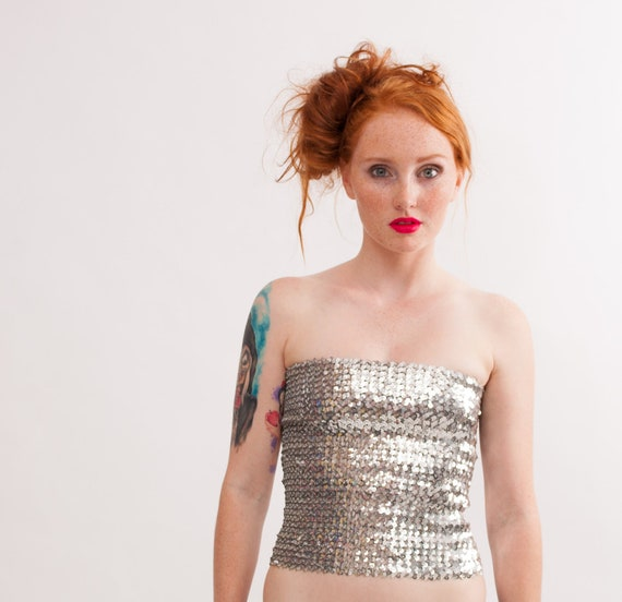 Vintage 1970s Tube Top - 70s Sequin Top - Metallic Silver