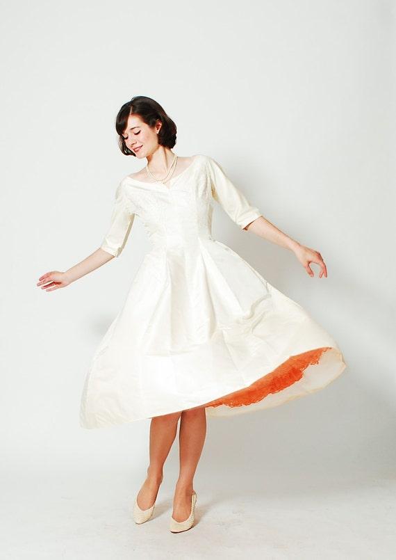 Vintage 1960s wedding dress 50s silk wedding by for Vintage 50s wedding dresses
