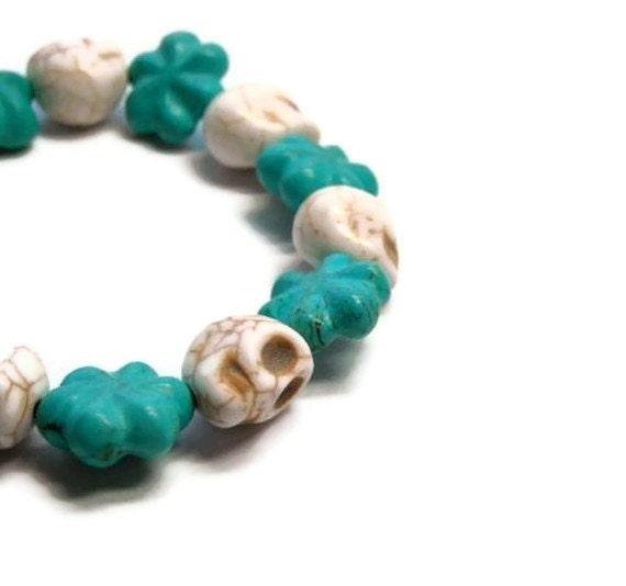 Turquoise Skull Bracelet Cowgirl Girly Skull Stretch Bracelet Day of the Dead Dia de los Muertos Halloween