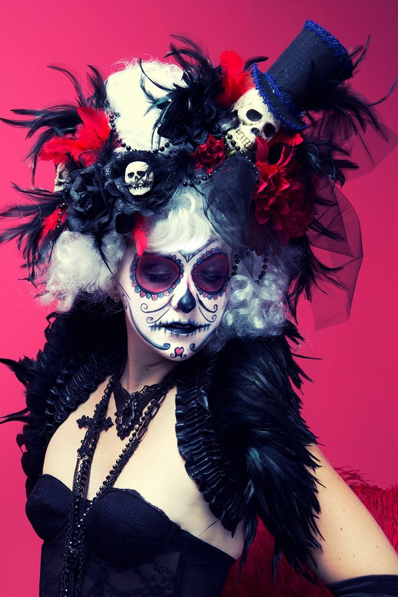 white day of the dead victorian skull wig