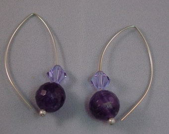 Sterling with Swarovski Crystals & Amethyst Beads