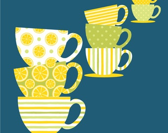 Freshly Squeezed Lemon Teacup Clipart - 10 Teacup and 10 Saucer