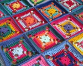 READY to SHIP SALE 30% Off Crochet Afghan Blanket Granny Squares Patchwork