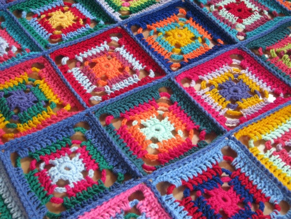Crochet Afghan Blanket Multicolored Granny Squares Patchwork In Stock Ready To Ship