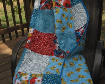 Handmade Americanna Patchwork Lap Quilt-POPPY PASSION Teal Turquoise & Red Floral Lap Quilt-Turquoise and Red Home Decor-Floral Lap Quilt