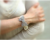 Bow Bracelet Bridal Crystal Rhinestone Bow And Satin Ribbon  Bracelet - Perfect for Bride, Wedding, Bridesmaids And Formal