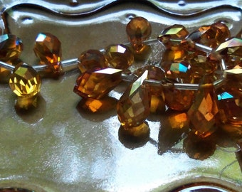 Summer Honey - Faceted Crystal Briolette Drops - 10mm x 20mm - Top Drilled - 4 beads