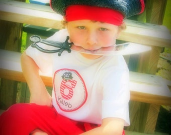 Ahoy Matey...Personalized Boy Pirate Hat Party Iron-on Shirt Transfer
