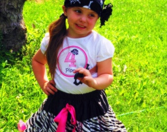 Ahoy Matey...Personalized Girl Pirate Hat Party Iron-on Shirt Transfer