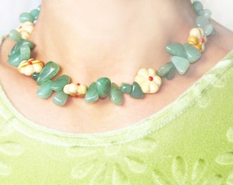 Summer Party Gemstone Necklace Green Aventurine Necklace Lampwork Glass Beads Flower Necklace Unique Gift for women Garden Floral Jewelry
