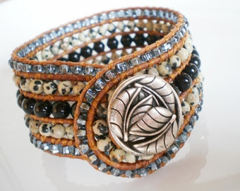 Beaded Cuff Bracelet Gem Bracelet Wide Cuff 5 Row Cuff Bracelet
