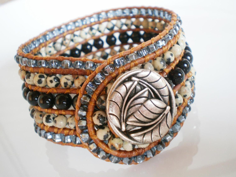 beaded cuff bracelet gem bracelet wide cuff 5 row by