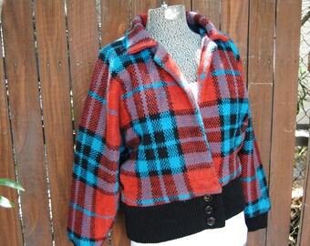 Vintage 1980's Plaid Bomber Jacket