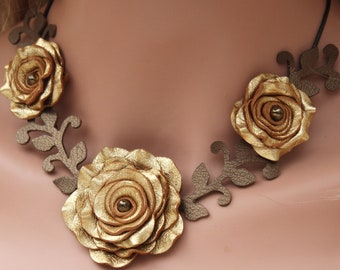 Flower necklace leather necklace choker gold roses leather jewelry mixed media jewelry wedding accessories prom wearable art