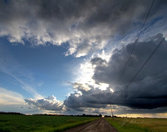 prairie country road photograph, storm photography, fine art print, stormy skies, canadian prairies, countryside, rural landscape