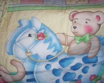 Quilted Rocking Horse and Stuffed Animals Blanket
